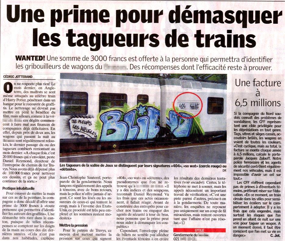Article Recompense Rançon Graffiti Wanted Train Taggeur Suisse
