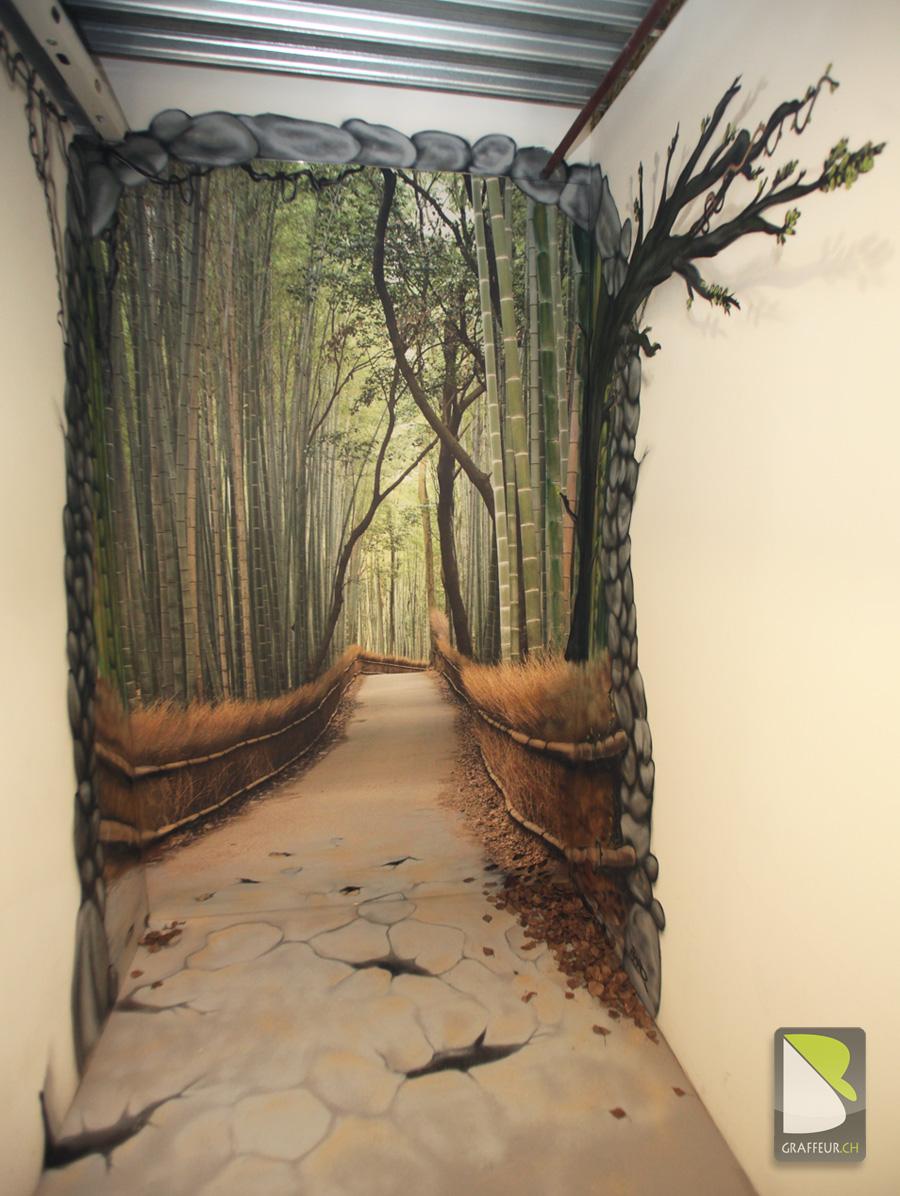 Trompe l\'oeil : Chemin en foret de bambou | Graffeur.ch