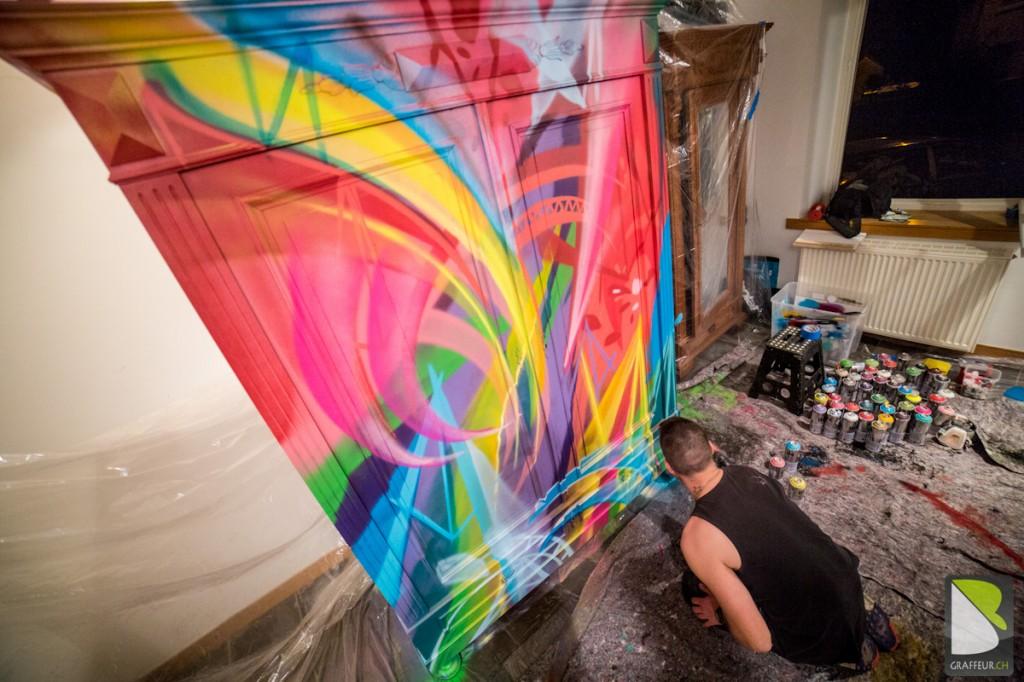 Armoir Meuble Graffiti multicolor original Design