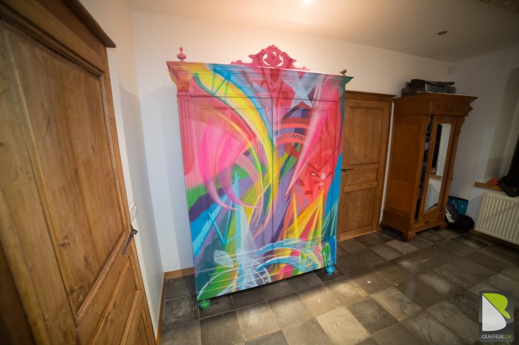 Armoir Meuble Graffiti multicolor original Design-3