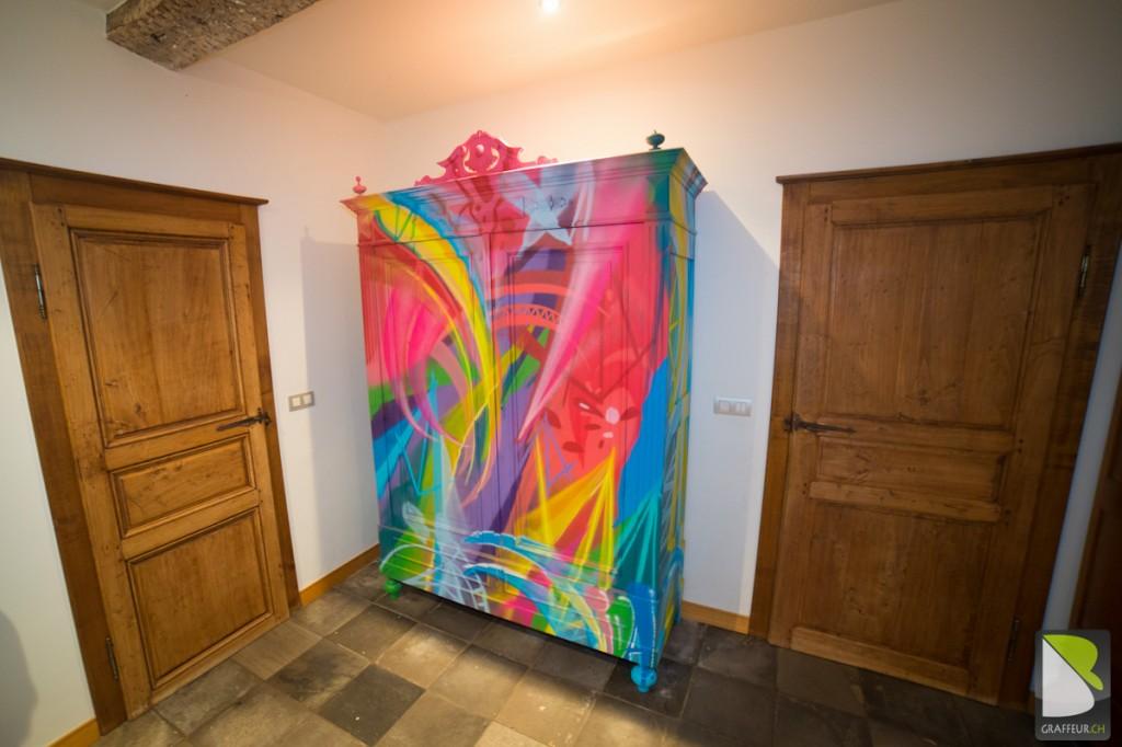 Armoir Meuble Graffiti multicolor original Design-4