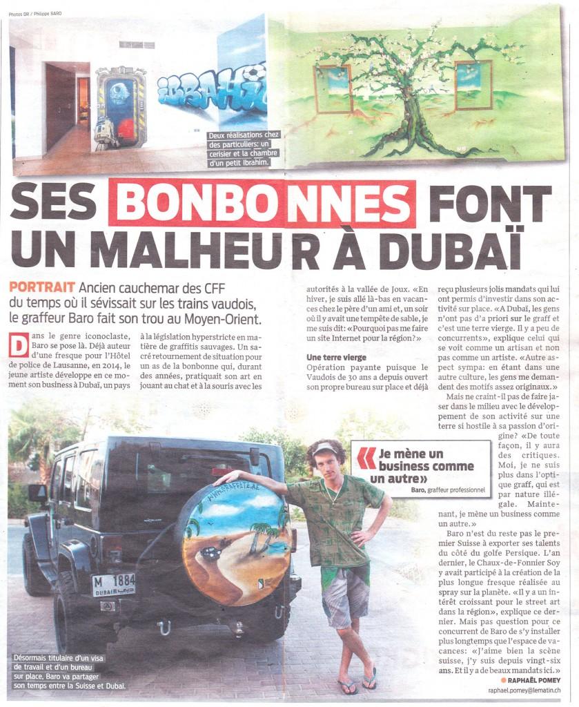 Article-Le-Matin-Suisse-22-07-2015-Dubai-Graffiti