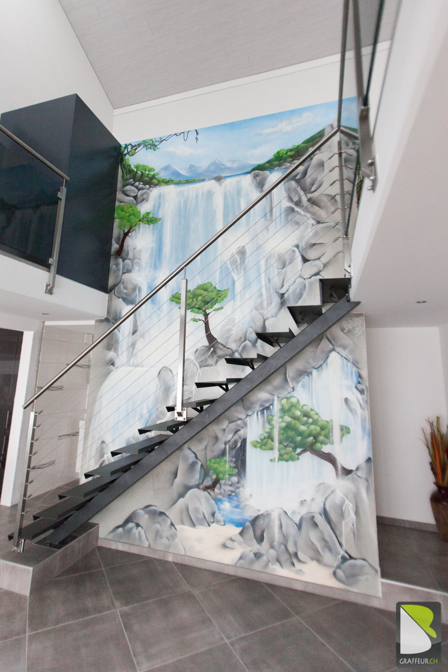 Cascade interieur à st croix baro graffiti artist suisse